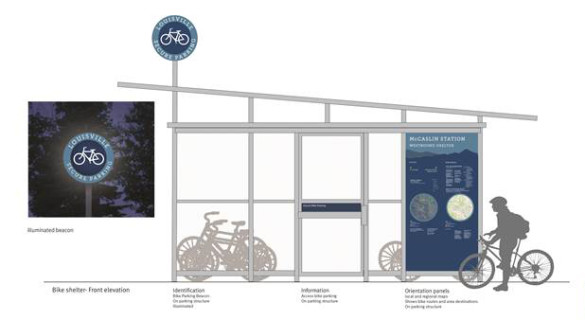 A rendering of a Bike-n-Ride Shelter.